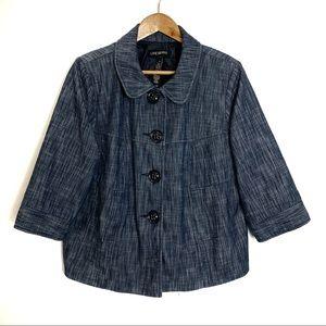 Lane Bryant Plus Button Up 3/4 Sleeve Peat Coat